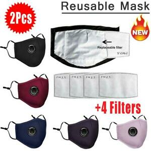 2X PM2.5 Anti Air Pollution Face Mask Respirator With Filters Washable& Reusable