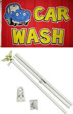 3x5 Advertising Car Wash Red Yellow Flag White Pole Kit Set 3'x5'