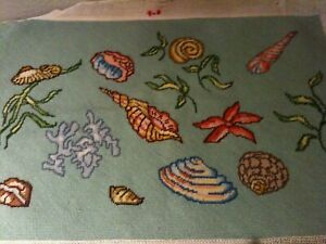 """16""""x24"""" Finished Needlepoint Picture Seascape Shells Seaweed"""