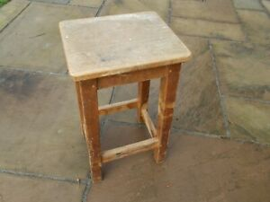 "Wooden vintage 4 leg stool, 21.75"" high   seat 10 x 11.75"", good condition"