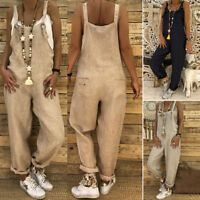 Women Casual Cotton Linen Jumpsuit Long Pants Overalls Plus Size Baggy Suspender