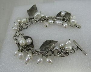 Beautiful Silpada Sterling Silver 925 Pearl Leaf Cha Cha Toggle Bracelet B1631