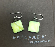 Silpada Green Square Mother of Pearl / Pyrite Earrings W1134