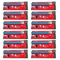 12xPCI-E Express 1x To 16x Adapter Riser Card Extension Powered Cable USB3.0 Lot