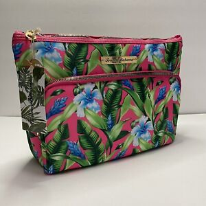 Tommy Bahama Pink Floral Cosmetic Accessory Zippered Bag Travel Tote Brand New