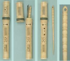 Lovely Antique Pierced Bone Needle Case & Bodkin * English * Circa 1800