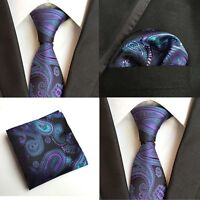 Men Green Purple Paisley Floral Silk Neck Tie Match Pocket Square Set Lot HZ119