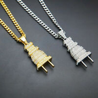 """24""""Men's Stainless Steel Hip Hop Electric Thick Plug Pendant Necklace Chain"""