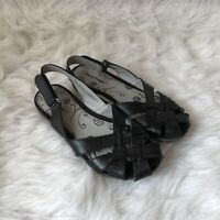 Bare Traps Womens 7.5M Black Leather Closed Toe Sling Back Sandals Comfort Shoes