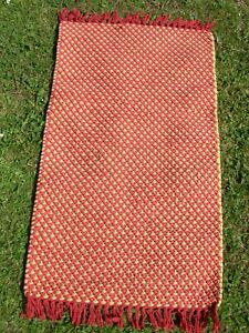 """ochre & red boho rug / matt recycle textile handwoven 32"""" X 19"""" inches"""