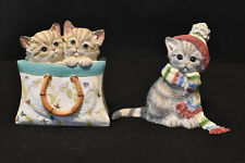 Lenox Cat Figurines! 2005 A Tote For Two! 2006 All Bundled Up!