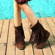 Retro Women Rivets Tassel Fringe Slouch Hidden Wedge Moccasin Ankle Boots Shoe D