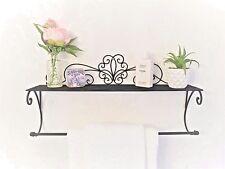 Black Metal Wall Shelf Towel Rail Unit French Vintage Bathroom Kitchen Storage