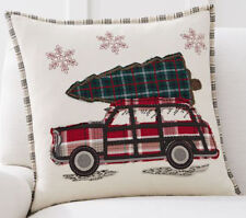 POTTERY BARN ALL THE WAY HOME EMBROIDERED XMAS HOLIDAY PILLOW COVER 20 X 20 NEW