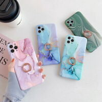Marble Silicone Ring Holder Soft Case Cover For iPhone 12 Pro Max 11 XS XR X 8 7
