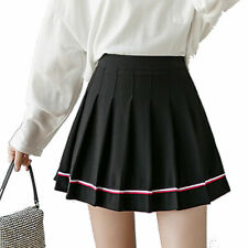Women Jk Uniform Skirt School Girl Pleated Skirt Tennis Skater Short Miniskirt S