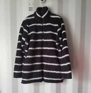 New Women Worm Soft Fluffy Black/White Jumper Pullover Ex-Yours 16 -34/36