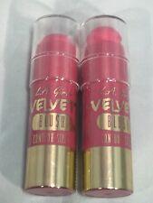 2 PACK LOT LA Girl Velvet Blush Contour Stick #GCS586 PLUME .2 Oz NEW Sealed