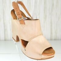 New Naya Beige Leather Platform Sandals Shoes Size 6.5 M Womens Slingback nwob