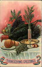 Thanksgiving - Turkey & Other Food Dinner Table c1910 Embossed Postcard