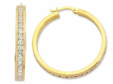 Cubic Zirconia Hoop Yellow Gold Filled Fashion Earrings