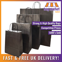 Strong Black Twisted Handle Paper Bags | Kraft/Shop/Gift/Fashion/Party/Carrier
