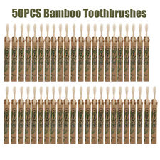 50PCS Natural Bamboo Toothbrushes Oral Care Clean Soft Bristles Tooth Brush