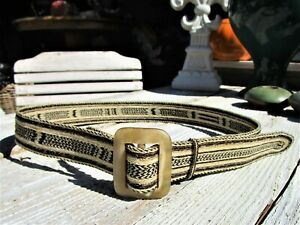 Rare Vintage Braided Horse Hair Belt with Bone Buckle
