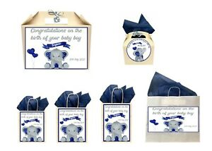 Personalised New Baby Boy Blue Elephant Gift Box Present Box Bag Collection