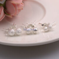 1 Pair Genuine 925 Sterling Silver Ball Bead Studs Earrings Women Round Stud