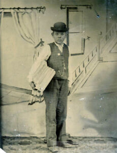 1890 Tintype Occupational Newsboy Suit Holds Newspaper Backdrop