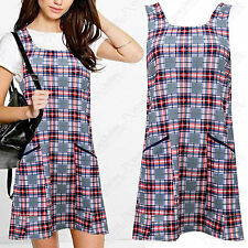 Unbranded Round Neck Checked Sleeveless Dresses for Women