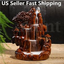 Porcelain Mountain Water Backflow Ceramic Cone Incense Burner Holder + 60 cones