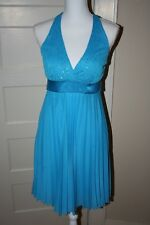 formal, prom, party dress, teal/blue, knee-length, Speechless, halter top, M