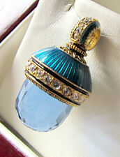 SALE ! LOVELY RUSSIAN PENDANT made of STERLING SILVER 925 & 24K GOLD BLUE TOPAZ
