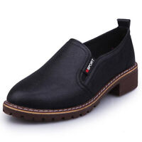 AU Women Ankle Boots Round Toe Slip On Shoes Pumps Moccasin Block Low Heels Size