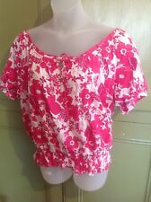 BHS Authentic  UK 18 EU 46 Pink Floral Gypsy Peasant Top  Smart casual