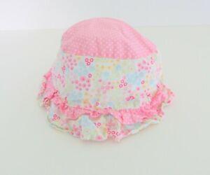 Baby Girls Sun Hat 12 Months Pink Dots Flowers Ruffle #23
