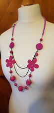 Pink Rose Blush Ladies Necklace Fuchsia Raspberry long silver flower bnwt