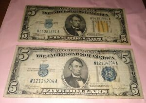 US $5 Silver Certificate Lot Of 2. 1934 C Blue Seal 1934 A Yellow WWII seal