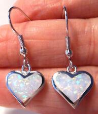 PRETTY Silver/Rhodium Plated WHITE LAB FIRE OPAL HEART Drop Earrings 30x10mm