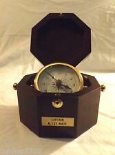 CAPTAIN & 1ST MATE MARINER SHIP CLOCK IN WOOD CASE BATTERY OPERATED