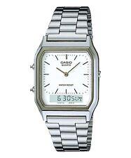 Casio AQ230A-7D Men's Silver Tone Metal Band Analog Digital Dual Time Watch