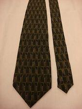 VAN HEUSEN Men's Silk Neck Tie - Dark Green Geometric Multi-color Vertical Print