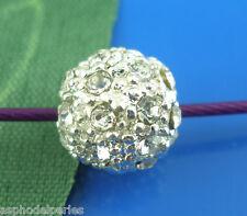 Perle ronde métal argenté avec strass 8 mm sans nickel