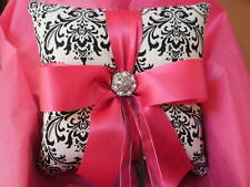 Black White Damask Fuchsia Ring Bearer Pillow Hot Pink Wedding Bridal