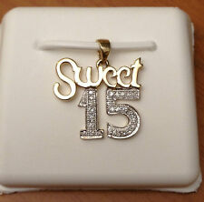 "Yellow Gold Sweet 15 quinceañera Pendant Charm Nacklace Diamonds 18"" Chain"