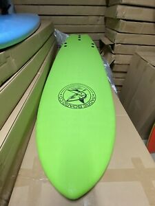 "6'6"" Surfboard Fishtail IXPE Soft Top Foam, Leash, 3 Fins, Color: Lime Green"