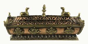 Brucia Incenso Tibetano Incensiere Rame Antico Astamangala Buddista 21cm 1852