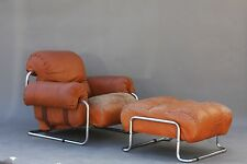 VINTAGE GUIDO FALESCHINI LEATHER LOUNGE CHAIR & OTTOMAN - ITALIAN KNOLL MODERN